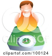 Royalty Free RF Clipart Illustration Of A Chubby Man Over A Green Scale