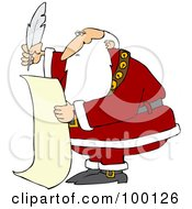 Santa Using A Quill To Writing A List