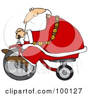 Royalty Free RF Clipart Illustration Of Santa Riding By On A Trike by djart