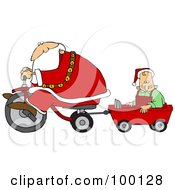 Royalty Free RF Clipart Illustration Of Santa Riding A Trike And Pulling An Elf In A Wagon