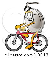 Computer Mouse Mascot Cartoon Character Riding A Bicycle