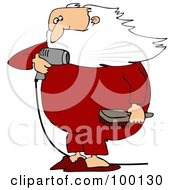 Santa Holding A Hair Brush And Blow Drying His Beard