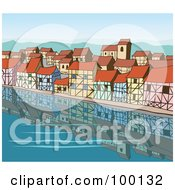 Royalty Free RF Clipart Illustration Of A Waterfront Middle Age Village Reflecting On Water