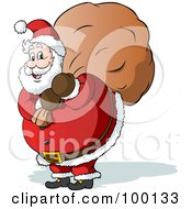 Royalty Free RF Clipart Illustration Of A Chubby St Nicholas Carrying A Christmas Toy Sack by Holger Bogen
