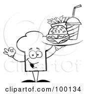 Royalty Free RF Clipart Illustration Of An Outlined Chef Hat Guy Serving Fast Food by Hit Toon