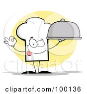 Royalty Free RF Clipart Illustration Of A Chef Hat Guy Serving A Platter by Hit Toon
