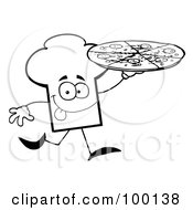Royalty Free RF Clipart Illustration Of An Outlined Chef Hat Guy Carrying A Pizza by Hit Toon