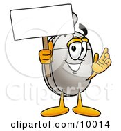 Computer Mouse Mascot Cartoon Character Holding A Blank Sign