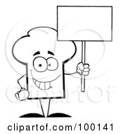 Royalty Free RF Clipart Illustration Of An Outlined Chef Hat Guy Holding A Blank Sign by Hit Toon