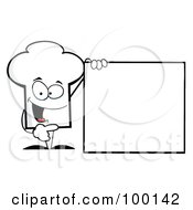 Royalty Free RF Clipart Illustration Of A Chef Hat Guy Presenting A Blank Sign by Hit Toon