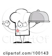 Royalty Free RF Clipart Illustration Of A Chef Hat Guy Holding A Platter by Hit Toon