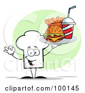 Royalty Free RF Clipart Illustration Of A Chef Hat Guy Carrying Fast Food by Hit Toon