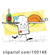 Royalty Free RF Clipart Illustration Of A Chef Hat Guy Serving Red Wine And Turkey by Hit Toon