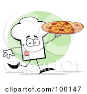 Royalty Free RF Clipart Illustration Of A Chef Hat Guy Holding A Pizza by Hit Toon