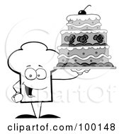 Royalty Free RF Clipart Illustration Of An Outlined Chef Hat Guy Holding A Cake by Hit Toon