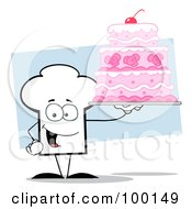 Royalty Free RF Clipart Illustration Of A Chef Hat Guy Holding A Pink Wedding Cake by Hit Toon