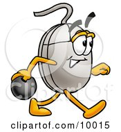 Computer Mouse Mascot Cartoon Character Holding A Bowling Ball