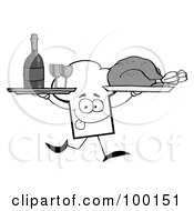 Royalty Free RF Clipart Illustration Of A Grayscale Chef Hat Guy Serving Wine And Turkey by Hit Toon