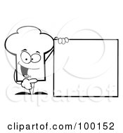 Royalty Free RF Clipart Illustration Of An Outlined Chef Hat Guy Presenting A Blank Sign by Hit Toon