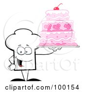 Royalty Free RF Clipart Illustration Of A Chef Hat Guy Holding A Pink Cake by Hit Toon