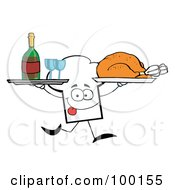 Royalty Free RF Clipart Illustration Of A Chef Hat Guy Serving Wine And Turkey