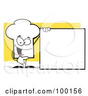 Royalty Free RF Clipart Illustration Of A Chef Hat Guy With A Blank Sign by Hit Toon