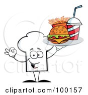 Royalty Free RF Clipart Illustration Of A Chef Hat Guy Serving Fast Food