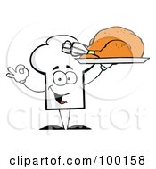 Royalty Free RF Clipart Illustration Of A Chef Hat Guy Serving A Turkey by Hit Toon