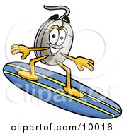 Clipart Picture Of A Computer Mouse Mascot Cartoon Character Surfing On A Blue And Yellow Surfboard