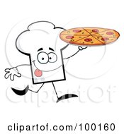 Royalty Free RF Clipart Illustration Of A Chef Hat Guy Carrying A Pizza