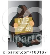 Royalty Free RF Clipart Illustration Of A Poor Man Holding A Homeless Need Help Sign by mayawizard101