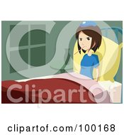 Royalty Free RF Clipart Illustration Of A Sick Brunette Girl In Bed With A Thermometer In Her Mouth by mayawizard101