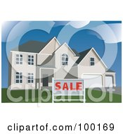 Royalty Free RF Clipart Illustration Of A Sale Sign In Front Of A Two Story Modern Home by mayawizard101