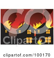Royalty Free RF Clipart Illustration Of A Eighborhood Burning From A Wild Fire