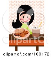Royalty Free RF Clipart Illustration Of A Girl With Chocolate Chip Cookies And Milk