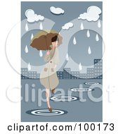 Royalty Free RF Clipart Illustration Of A Woman Running Through A Flooded City With An Umbrella by mayawizard101