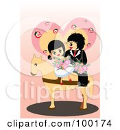 Royalty Free RF Clipart Illustration Of A Cute Wedding Couple On A Horse by mayawizard101