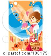 Royalty Free RF Clipart Illustration Of A Girl Carrying A Heart Cake
