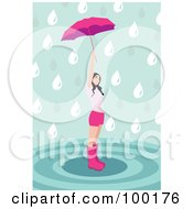 Girl In Pink Standing In A Puddle And Holding Up An Umbrella