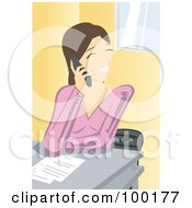 Friendly Brunette Businesswoman Talking On A Cell Phone