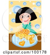Happy Woman With Oranges And Cookies