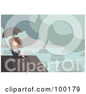 Royalty Free RF Clipart Illustration Of A Boy Sitting On A Roof In A Flooded Village by mayawizard101