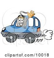 Computer Mouse Mascot Cartoon Character Driving A Blue Car And Waving