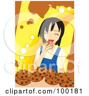 Royalty Free RF Clipart Illustration Of A Happy Girl Eating Chocolate Chip Cookies