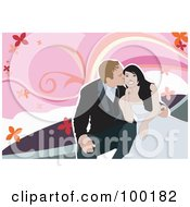Royalty Free RF Clipart Illustration Of A Wedding Couple Cuddling