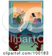 Royalty Free RF Clipart Illustration Of A Man And Woman Having A Heavy Discussion At A Table