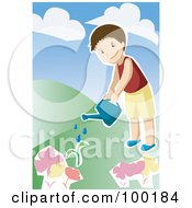 Little Boy Watering Plants In His Garden