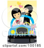 Royalty Free RF Clipart Illustration Of A Cute Wedding Couple In Their Getaway Car
