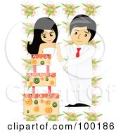 Royalty Free RF Clipart Illustration Of A Wedding Couple Cutting Their Fruity Cake