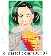 Royalty Free RF Clipart Illustration Of A Girl Eating French Fries
